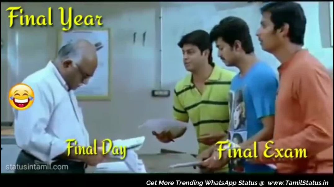 Nanban Exam Roll Number Comedy WhatsApp status in Tamil | Tamil status Video Free Download